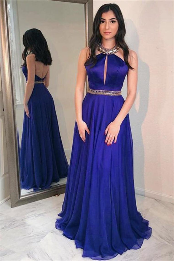 Beautiful Halter Open Back Royal Blue Long A-Line Simple Prom Dresses
