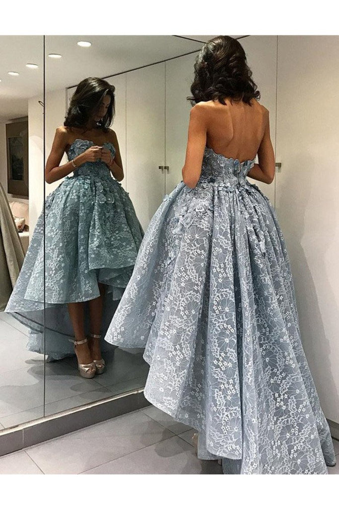 2019 Lace Prom Dresses Sweetheart With Handmade Flowers Asymmetrical