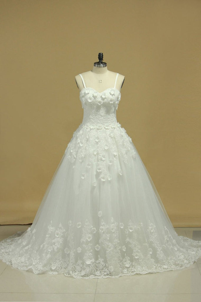 A Line Spaghetti Straps Court Train Wedding Dresses Tulle With Applique And Handmade Flowers