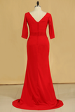 2019 Red Plus Size Mother Of The Bride Dresses V Neck 3/4 Length Sleeve Spandex With Beads Mermaid