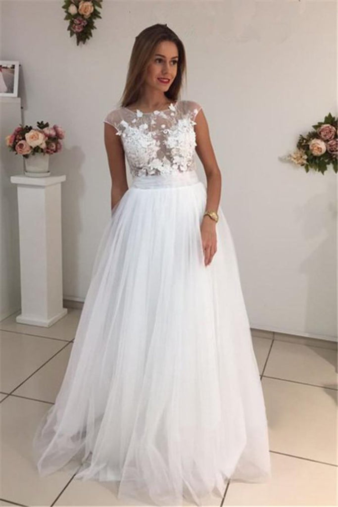 Scoop A Line Wedding Dresses Tulle With Applique Sweep Train