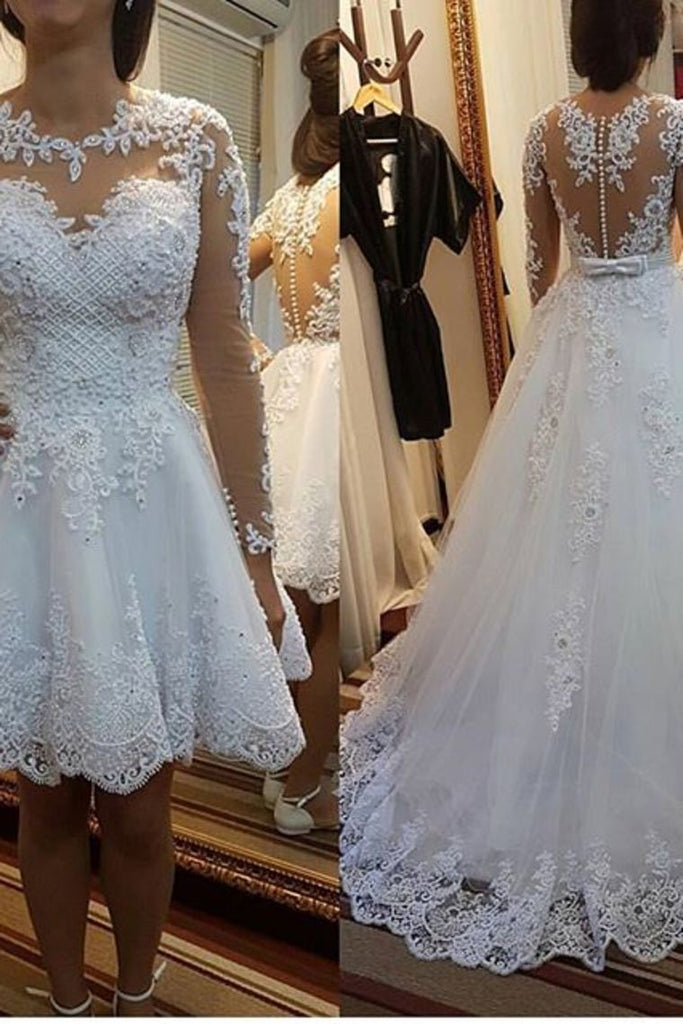 2019 A Line Scoop Neck Wedding Dresses Chapel Train Tulle With Applique & Beading Detachable Skirt Long Sleeves