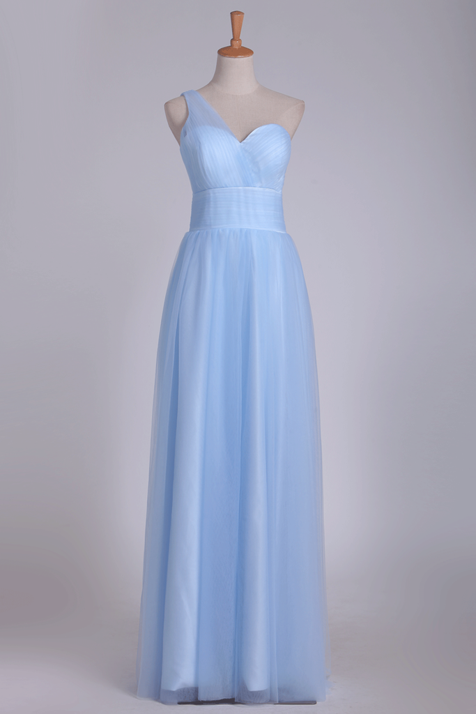 One Shoulder A Line Bridesmaid Dresses Ruched Bodice Tulle