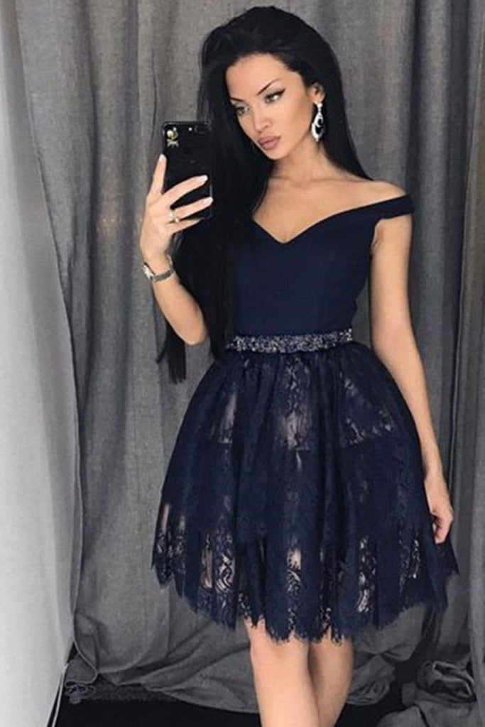 Homecoming Dresses A-Line Off-The-Shoulder Black Lace