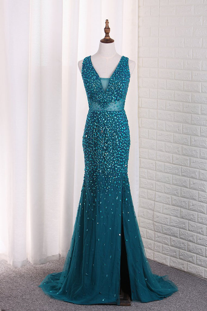 2019 Straps Mermaid Prom Dresses Tulle With Beads And Slit Open Back