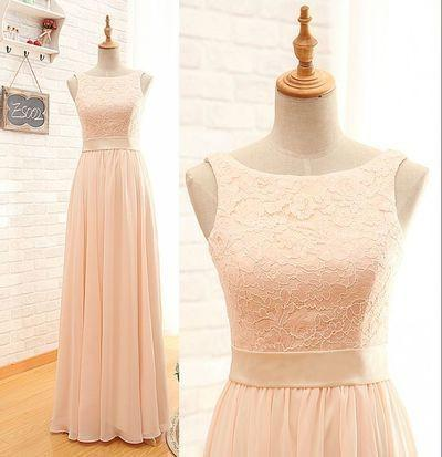 Blush Pink Lace Chiffon Scoop Sleeveless A-Line Zipper Floor-Length Long Bridesmaid Dresses WK34