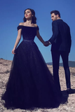 2019 Tulle Prom Dresses A Line Off The Shoulder With Beading Sweep Train