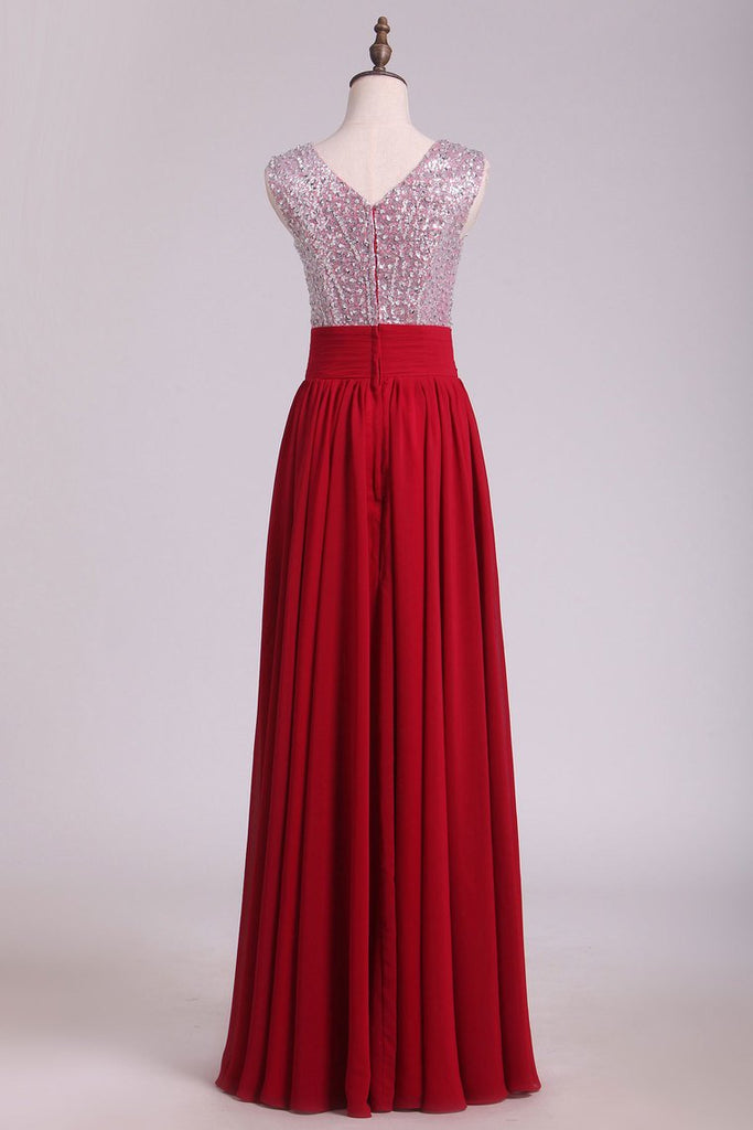 2019 V Neck A Line Sequined Bodice Prom Dresses Chiffon Floor Length
