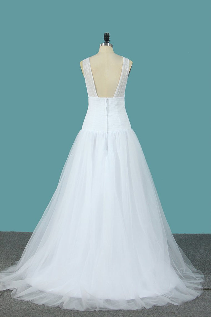 A Line Tulle & Lace Wedding Dresses Scoop Sweep Train New Arrival