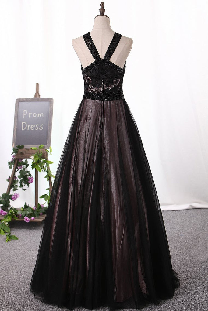 2019 Prom Dresses Tulle & Lace With Beading Floor Length A Line