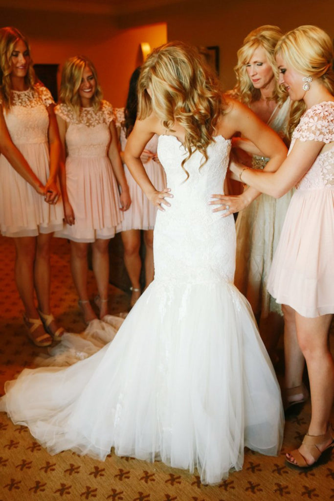 Charming Sweetheart Mermaid Long Ivory Lace Tulle Wedding Dresses