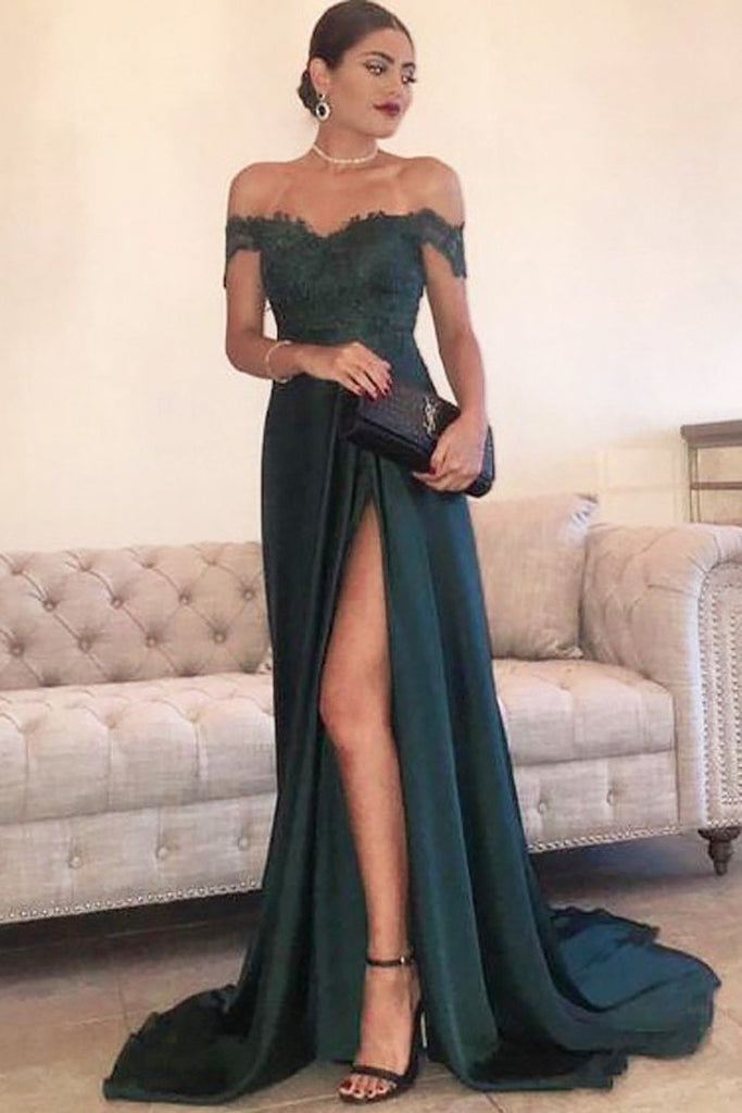 2020 A Line Off The Shoulder Prom Dresses Stretch Satin With Applique And Slit