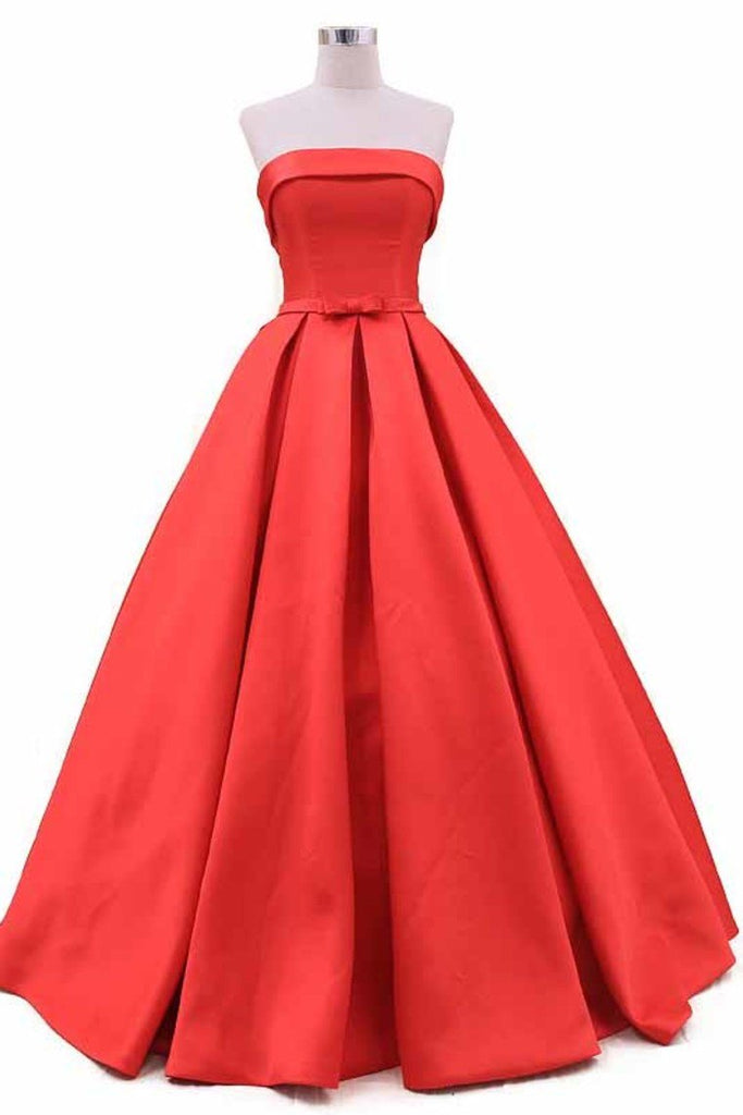 2019 New Arrival Strapless Prom Dresses A Line Satin With Sash