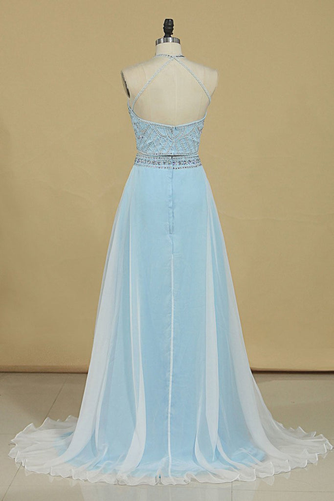 2019 Two-Piece Halter A Line Prom Dresses With Beading And Rhinestones Bicolor Chiffon & Tulle