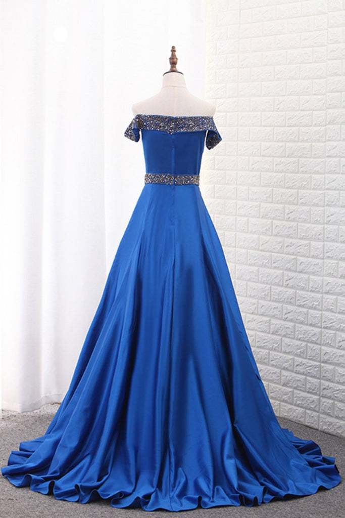 2019 Boat Neck Satin A Line With Beads Sweep Train Prom Dresses