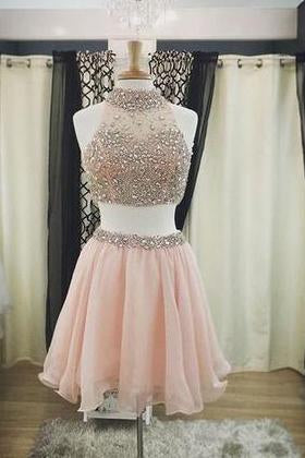2020 Two Pieces Halter Cute Mini Blush Pink Sexy Short Homecoming Dresses WK925