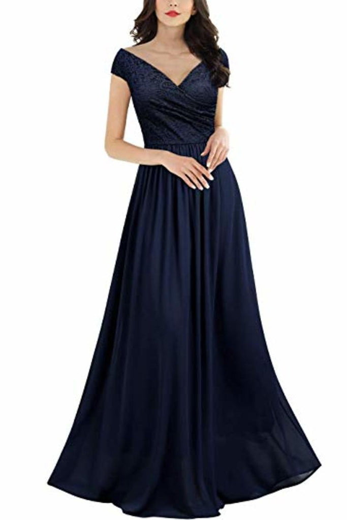 Sleeveless V-Neck Lace Chiffon Dress Bridesmaid Party Festive Chiffon Long Dress