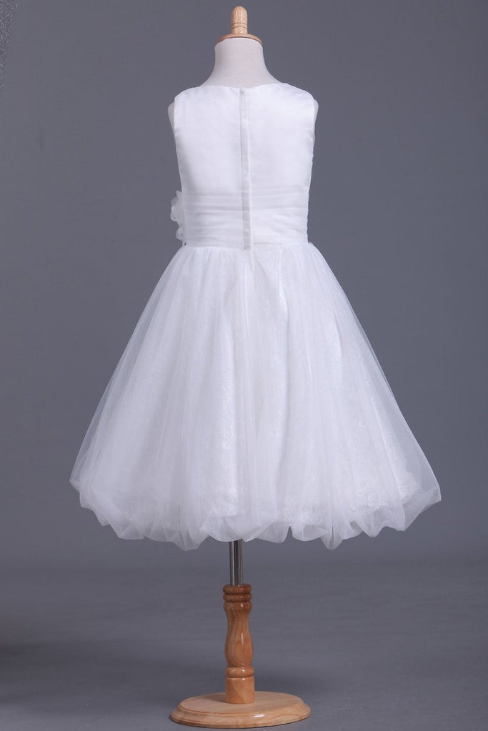 2019 Tulle Bateau A Line With Ruffles And Handmade Flower Flower Girl Dresses