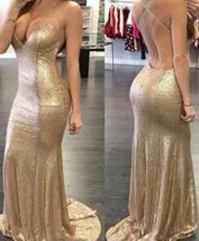 2020 Backless Sequin Mermaid Gold Long Custom Criss Cross Sleeveless Prom Dresses WK941