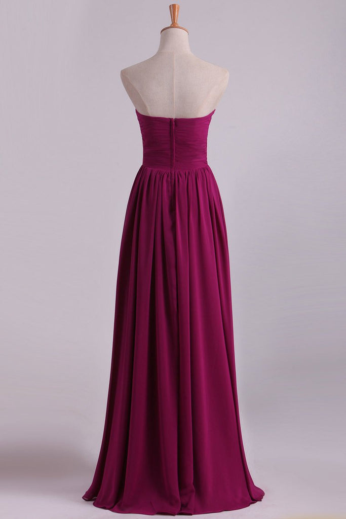 2019 Bridesmaid Dresses A Line Sweetheart Floor Length With Ruffles Chiffon