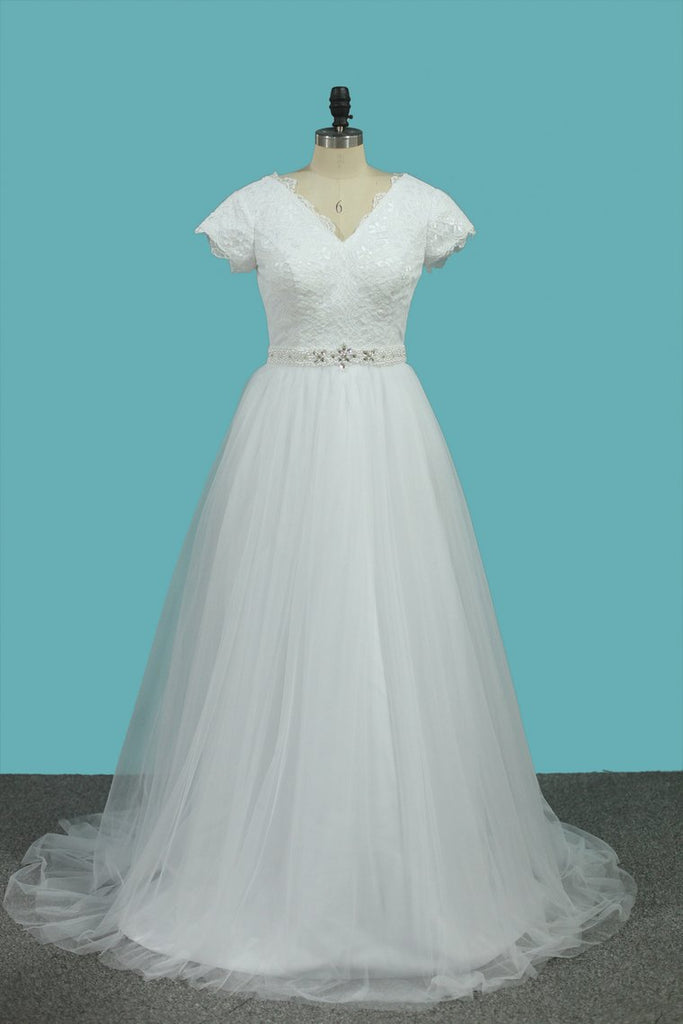 2019 Short Sleeves V Neck Wedding Dresses Tulle & Lace With Beading