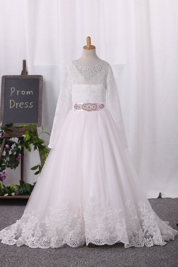 2019 Scoop Tulle Lace Bodice With Sash/Belt Flower Girl Dresses Ball Gown