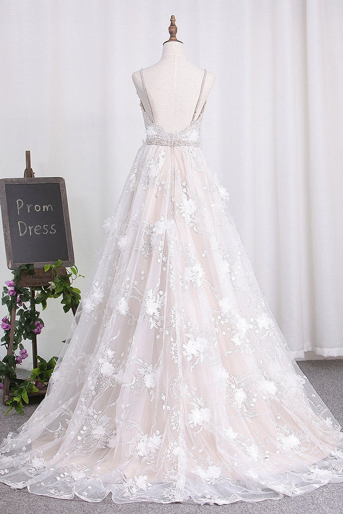 2019 Spaghetti Straps A Line Lace Wedding Dresses With Sash And Handmade Flower