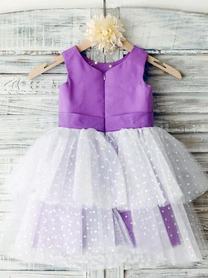Ball Gown Ivory Scoop Neck Satin Purple Tulle Ankle-length Tiered Child Flower Girl Dresses WK736