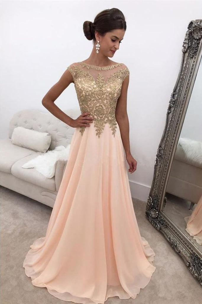 2019 Chiffon Prom Dresses A Line Scoop With Applique Sweep Train