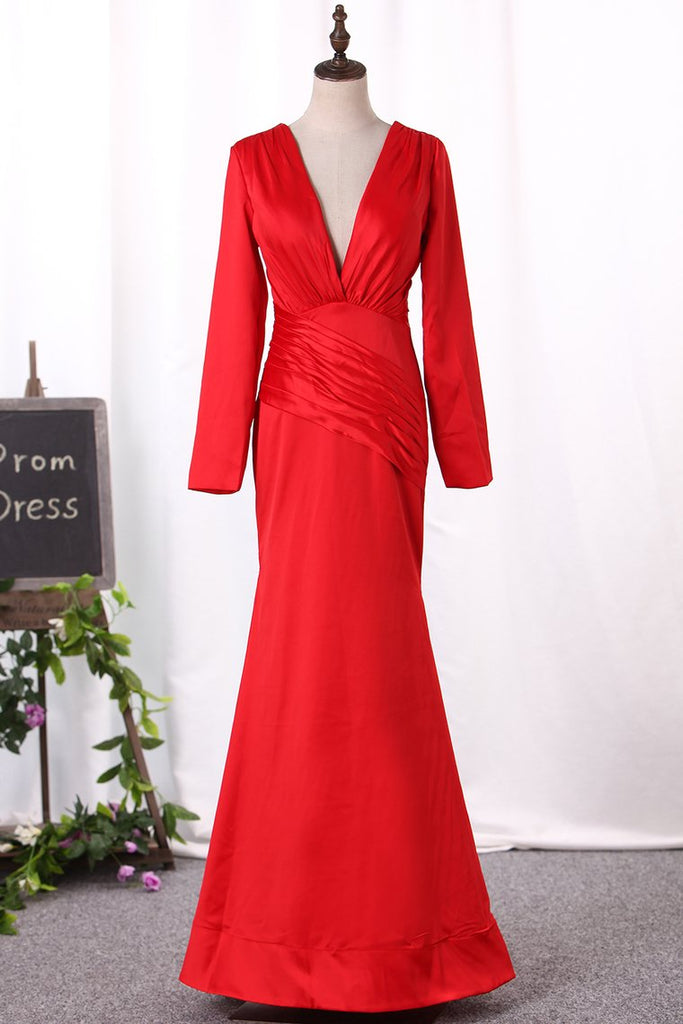 2019 New Arrival Mother Of The Bride Dresses V Neck Long Sleeves Mermaid Stretch Satin
