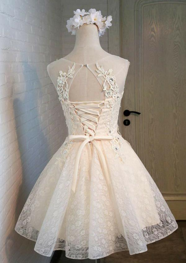 Cute A Line Lace Appliques Scoop Lace up Sequins Knee Length Homecoming Dresses WK965