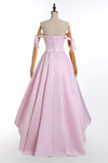 A-Line Pink Off the Shoulder Sweetheart Satin Lace up Hi-Lo Prom Homecoming Dresses WK515