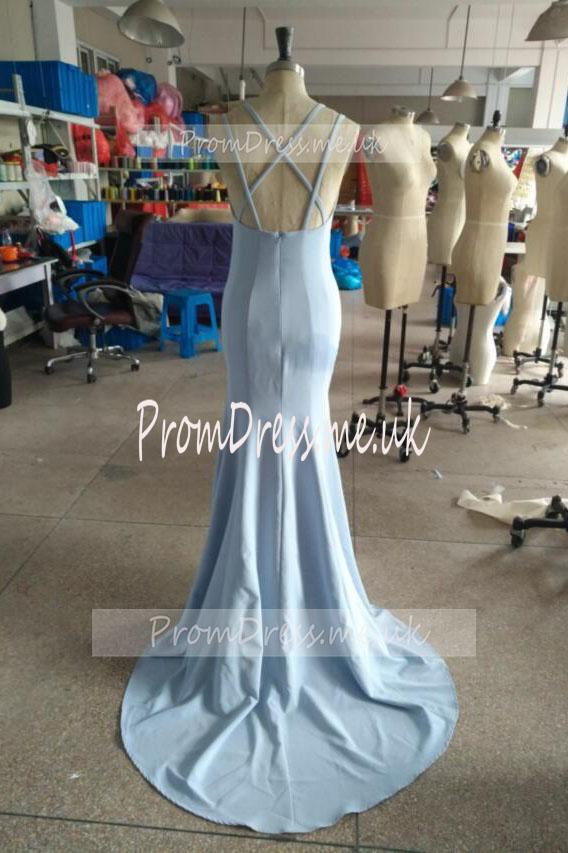 Fashion Light Blue High Neck Beads Long Two Piece Mermaid Halter Prom Dresses WK02