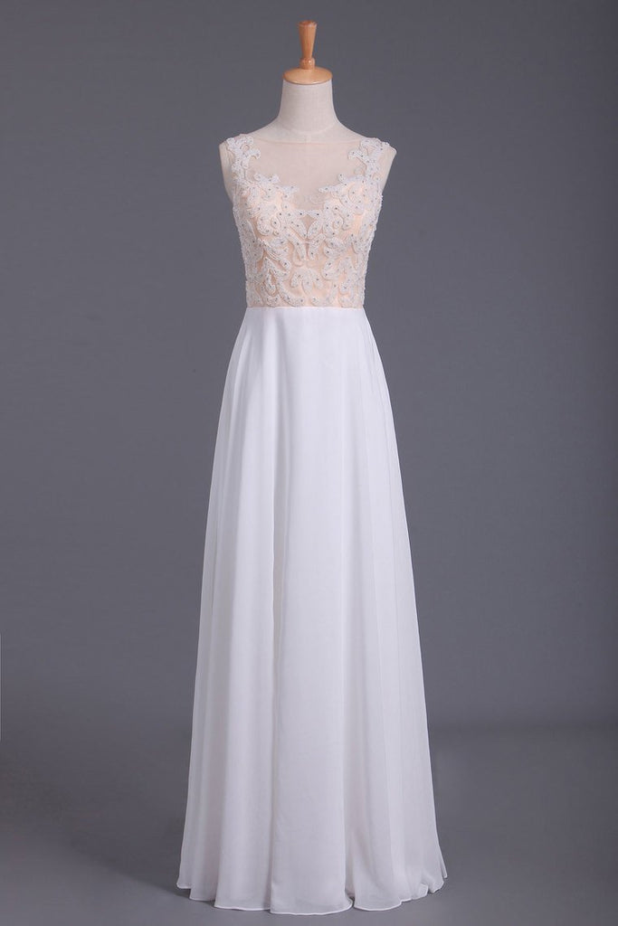 Scoop Beaded Bodice Prom Dresses A Line With Beading White