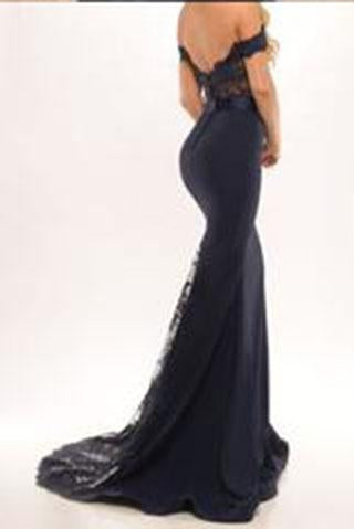 Black Long Prom Dresses Mermaid Off the Shoulder with Sash Prom Gowns Bridesmaid Dresses WK68