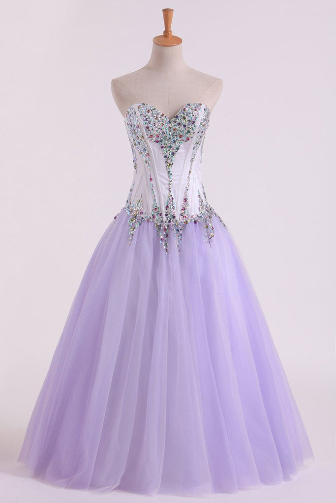 2019 Tulle Sweetheart Beaded Bodice Ball Gown Quinceanera Dresses Floor Length