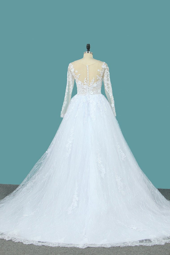 2019 Lace Ball Gown Wedding Dresses Scoop Long Sleeves With Applique And Beads Chapel Train