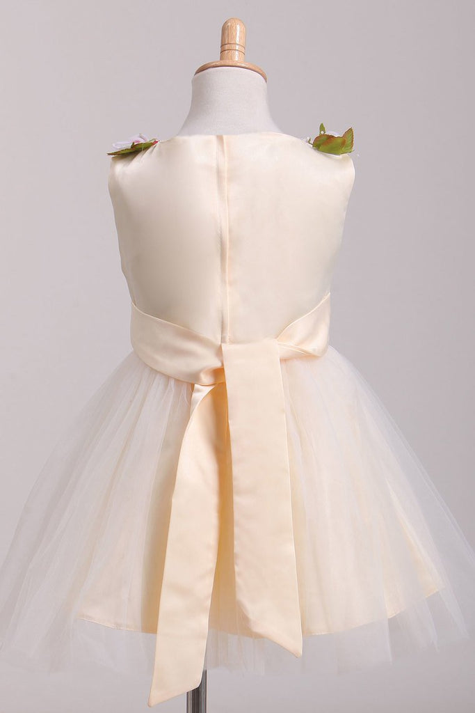 Scoop Flower Girl Dresses A-Line With Flowers Lace & Tulle