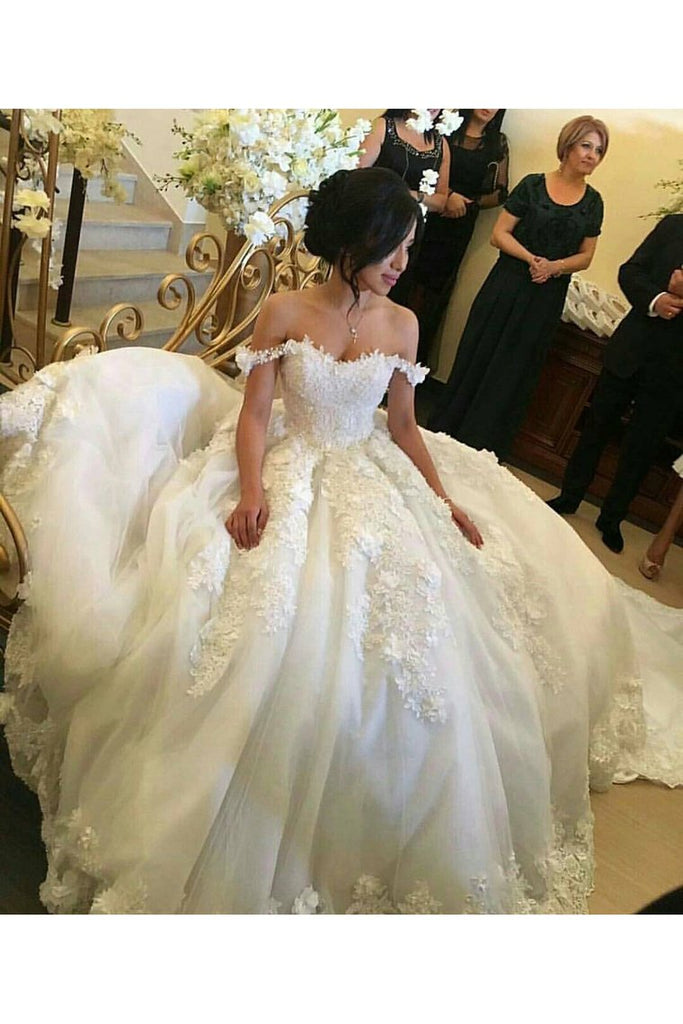 2019 Wedding Dresses Off The Shoulder A-Line Tulle With Applique Court Train