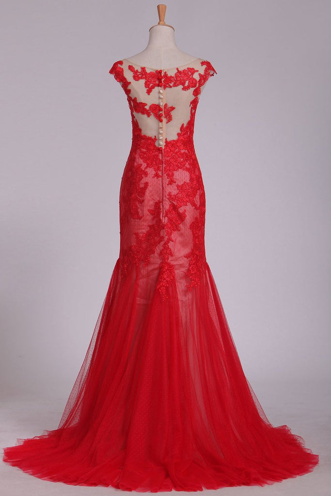 Sweep Train Bateau Tulle With Applique Mermaid Evening Dresses