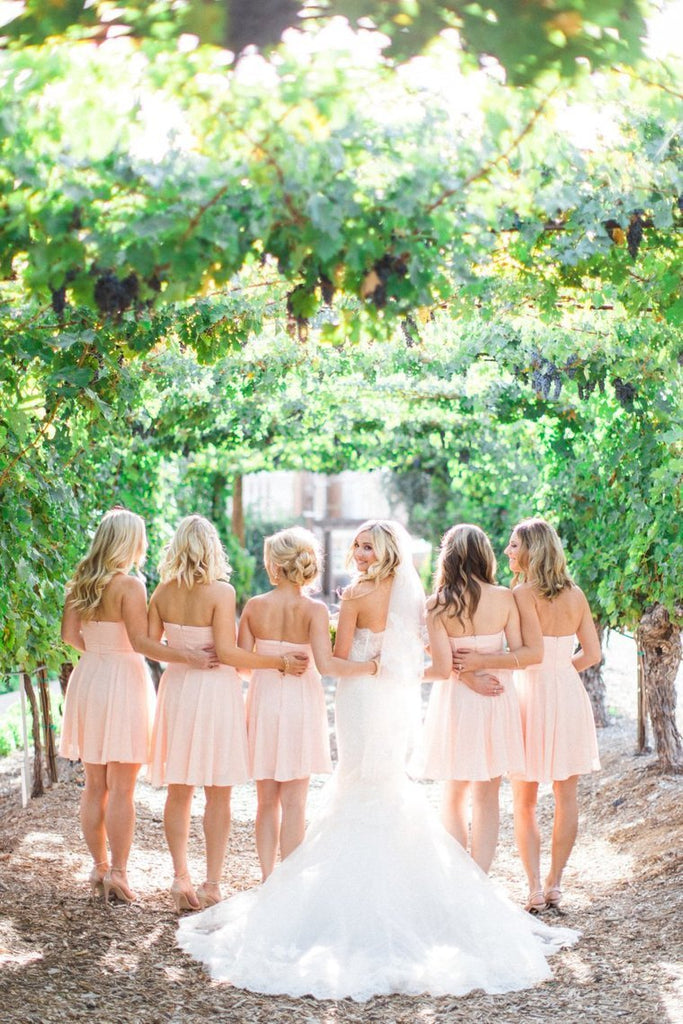 Pink Zipper Back Sweetheart Chiffon Backless Short Bridesmaid Dresses