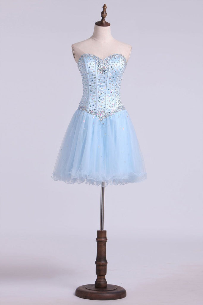 A Line Sweetheart Beaded Bodice Homecoming Dresses Tulle Short/Mini