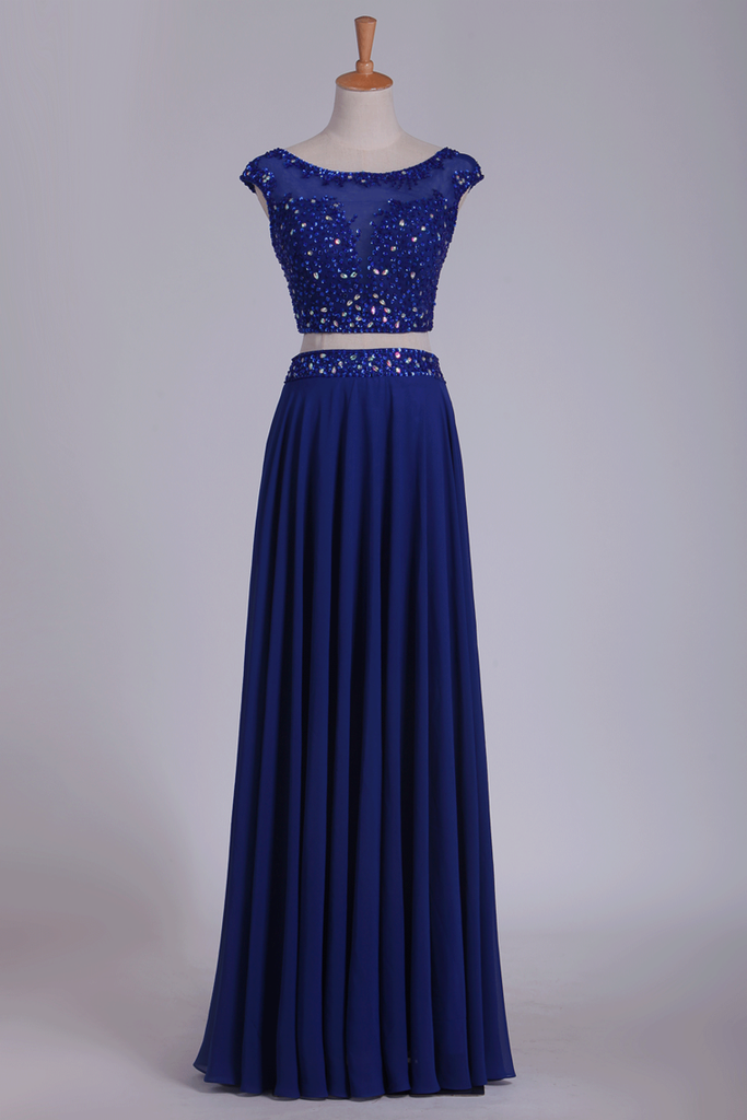 2019 Two Pieces Scoop With Beading Prom Dresses A Line Floor Length Dark Royal Blue