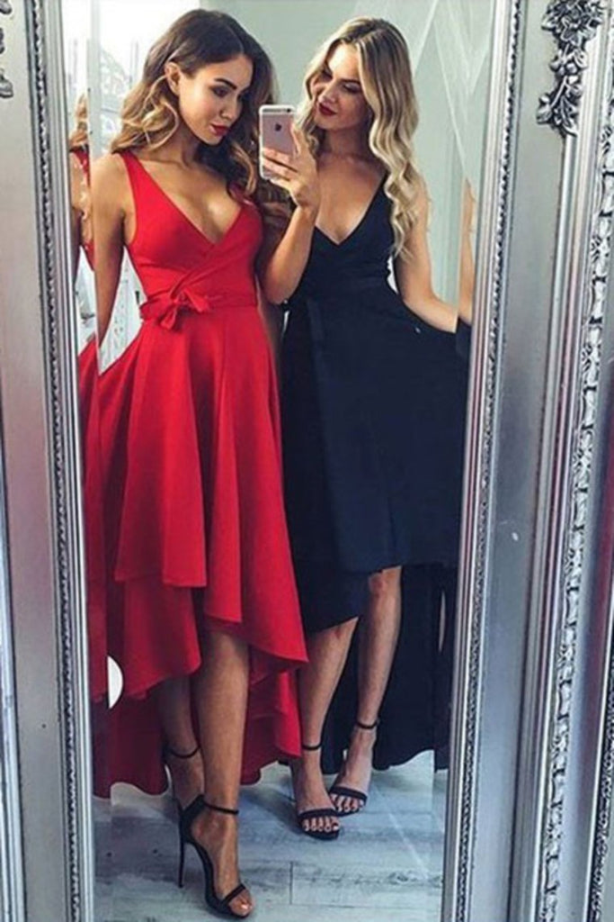 Asymmetrical V Neck Satin A Line With Sash Prom Dresses