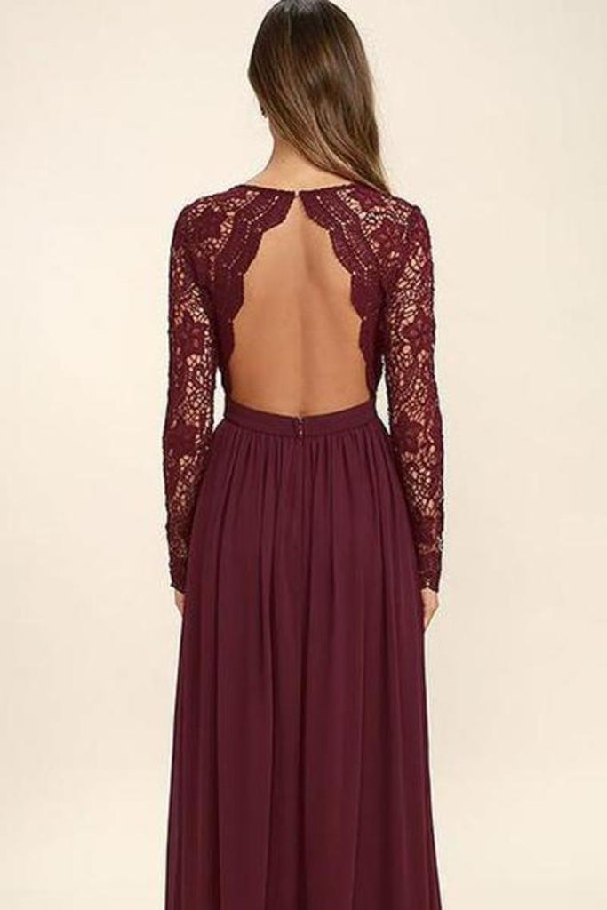 Long Sleeves V-Neck Lace Chiffon A-Line Maroon Prom Dresses Bridesmaid Dresses