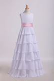 2019 Scoop Flower Girl Dresses A Line Floor Length Chiffon