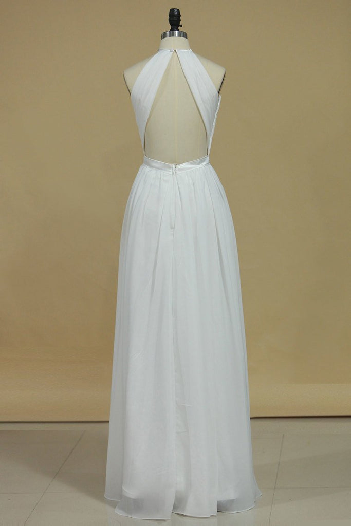 Sexy Open Back Bridesmaid Dresses A Line Halter Chiffon Floor Length