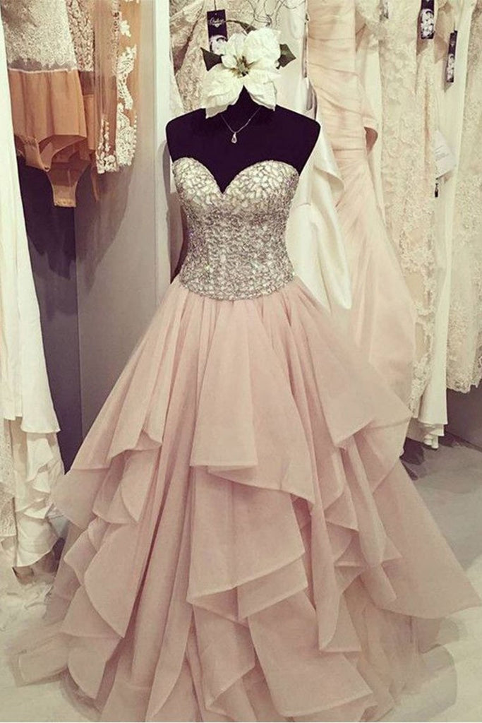 2019 Sweetheart Prom Dresses A Line Organza With Beading Sweep Train