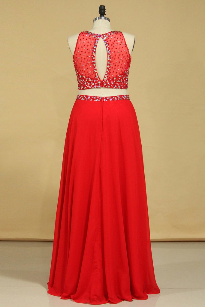 Red Scoop Two Pieces A Line Prom Dresses Beaded Bodice Open Back Chiffon & Tulle
