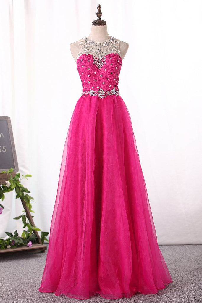 2019 Prom Dresses Scoop Organza A Line With Beading Floor Length